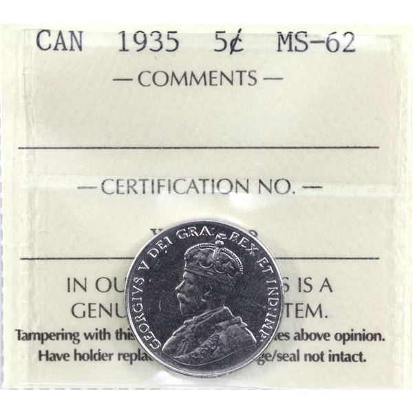 5-cent 1935 ICCS Certified MS-62.
