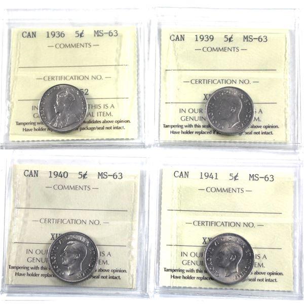 5-cent 1936, 1939, 1940 & 1941 ICCS Certified MS-63. 4pcs