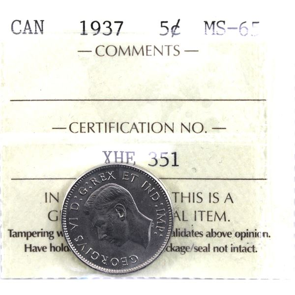 5-cent 1937 ICCS Certified MS-65.  A nice pristine coin.