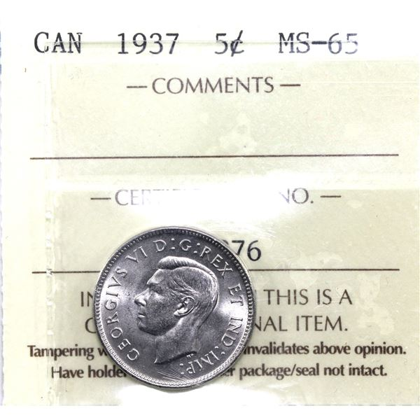 5-cent 1937 ICCS Certified MS-65. A near flawless coin for the first year issue of George the 6th.