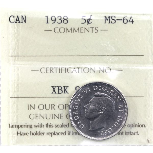 5-cent 1938 ICCS Certified MS-64. A tough coin in higher mint state grades.