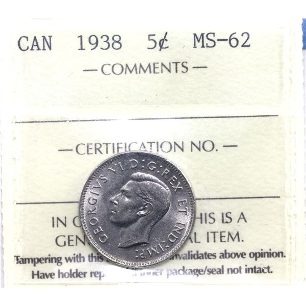 5-cent 1938 ICCS Certified MS-62.