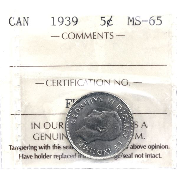 5-cent 1939 ICCS Certified MS-65.