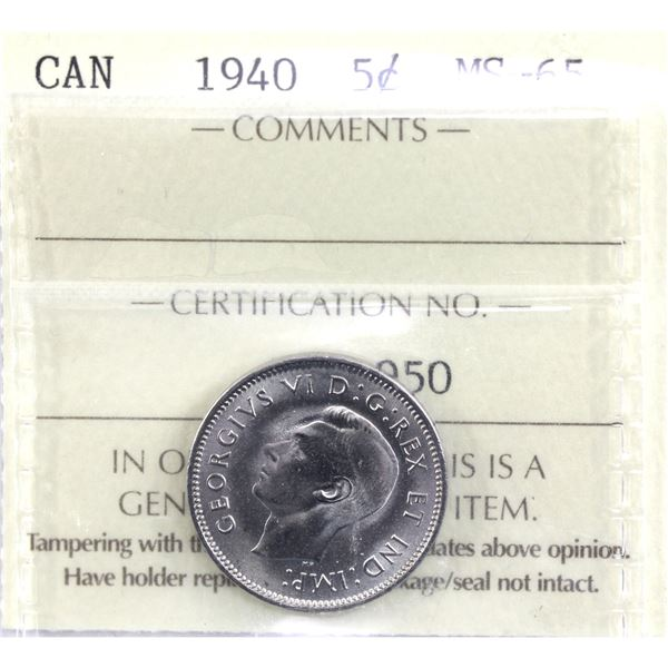 5-cent 1940 ICCS Certified MS-65. Choice eye appeal with frosted fields.