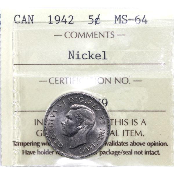 5-cent 1942 Nickel ICCS Certified MS-64.