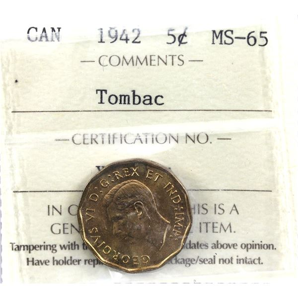 5-cent 1942 Tombac ICCS Certified MS-65. Bright coin with consistent tones throughout.