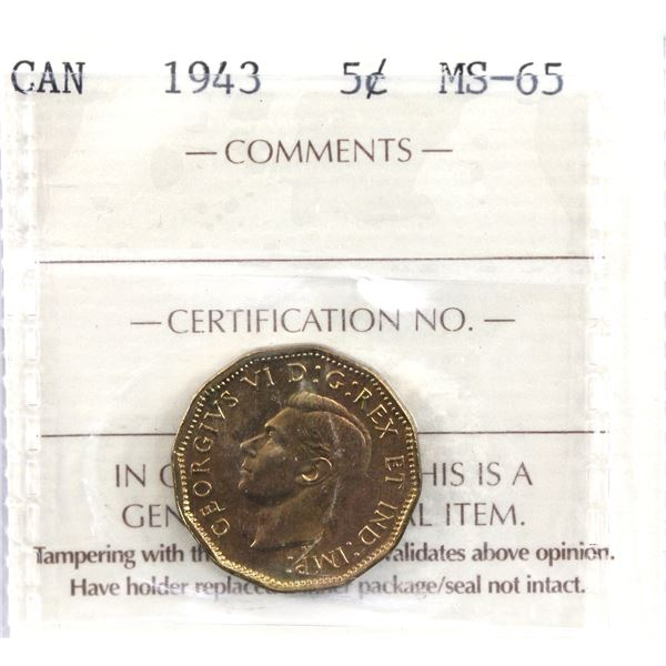 5-cent 1943 ICCS Certified MS-65.