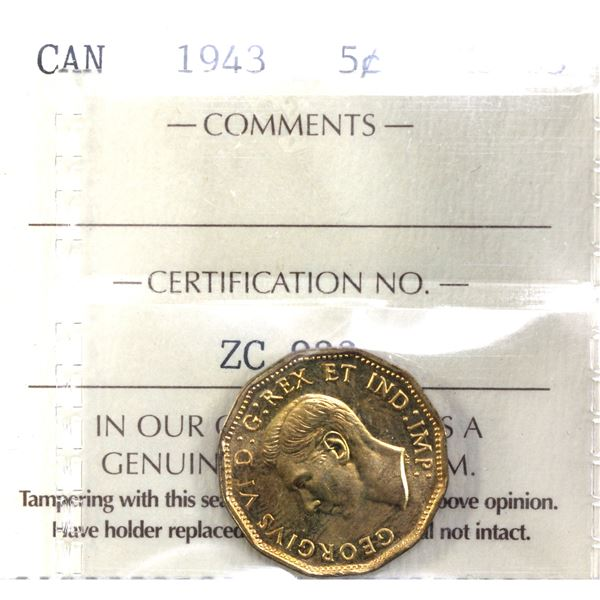 5-cent 1943 Tombac ICCS Certified MS-65. A bright lustrous coin.