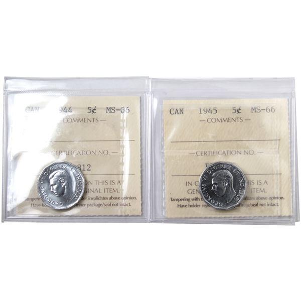 5-cent 1944 & 1945 ICCS Certified MS-66. 2pcs