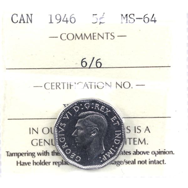 5-cent 1946 6/6 ICCS Certified MS-64. *High Grade!*