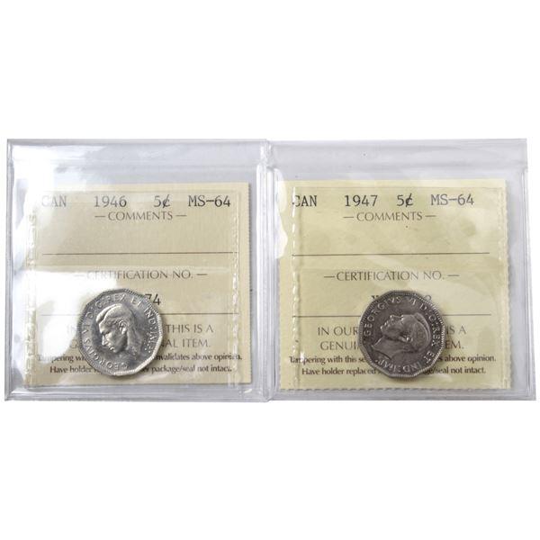 5-cent 1946 & 1947 ICCS Certified MS-64. 2pcs