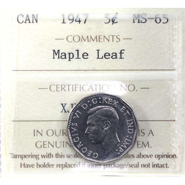 5-cent 1947 Maple Leaf ICCS Certified MS-65.