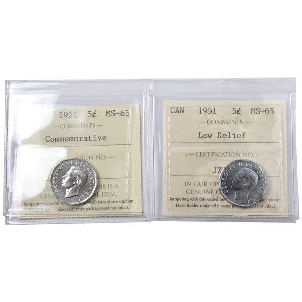 5-cent 1951 Commemorative & 1951 Low Relief ICCS Certified MS-65. 2pcs