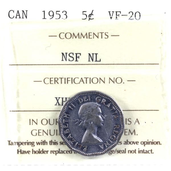 5-cent 1953 NSF NL 'MULE' ICCS Certified VF-20.