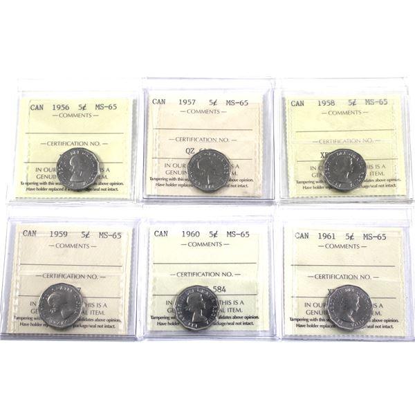 5-cent 1956-1961 ICCS Certified MS-65. 6pcs
