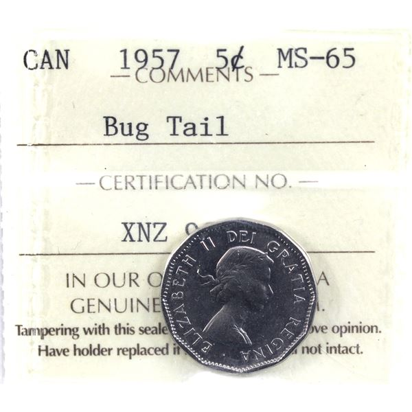5-cent 1957 Bug Tail ICCS Certified MS-65. *RARE*