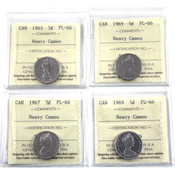5-cent 1963, 1965, 1967 & 1969 ICCS Certified PL-66 Heavy Cameo. 4pcs