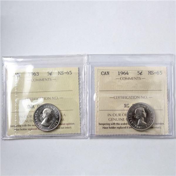 5-cent 1963 & 1964 ICCS Certified MS-65. 2pcs