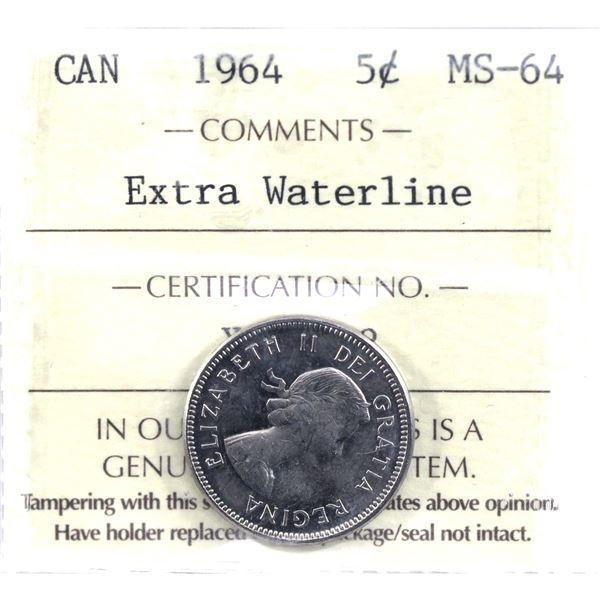 5-cent 1964 Extra Water Line ICCS Certified MS-64.