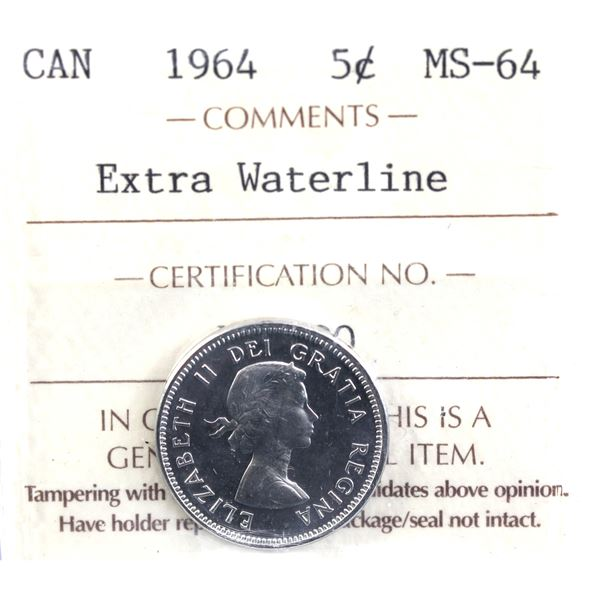 5-cent 1964 Extra Water Line ICCS Certified MS-64. Light cameo and clean fields.