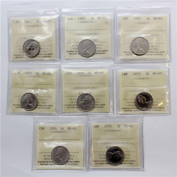 5-cent 1968-1975 ICCS Certified MS-65. 8pcs