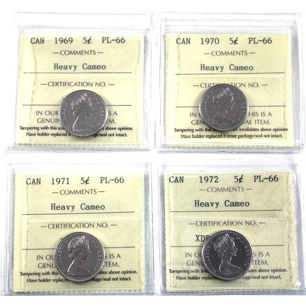 5-cent 1969-1972 ICCS Certified PL-66 Heavy Cameo. 4pcs