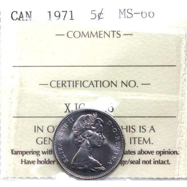 5-cent 1971 ICCS Certified MS-66. Near flawless fields!