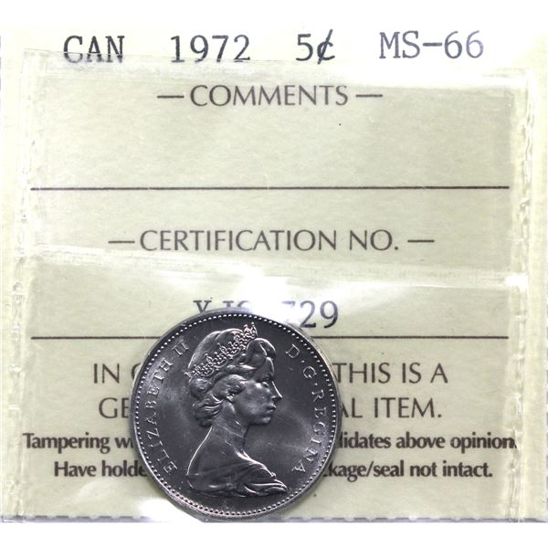 5-cent 1972 ICCS Certified MS-66. Low pop in this grade level.