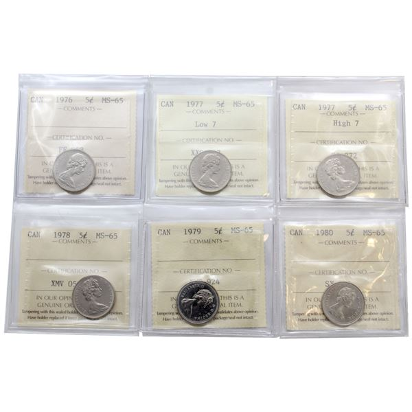 5-cent 1976, 1977 Low 7, 1977 High 7, 1978, 1979 & 1980 ICCS Certified MS-65. 6pcs