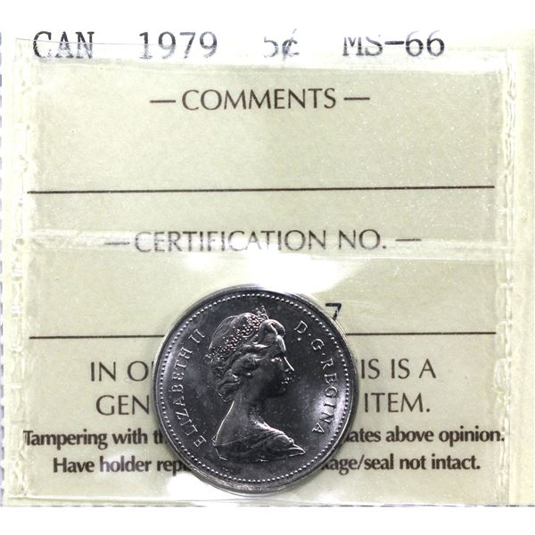 5-cent 1979 ICCS Certified MS-66. Choice Grade!