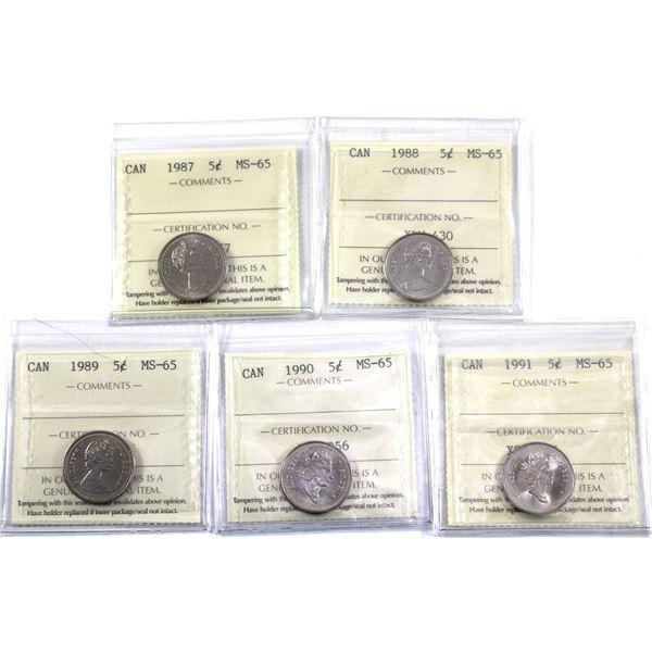 5-cent 1987-1991 ICCS Certified MS-65. 5pcs