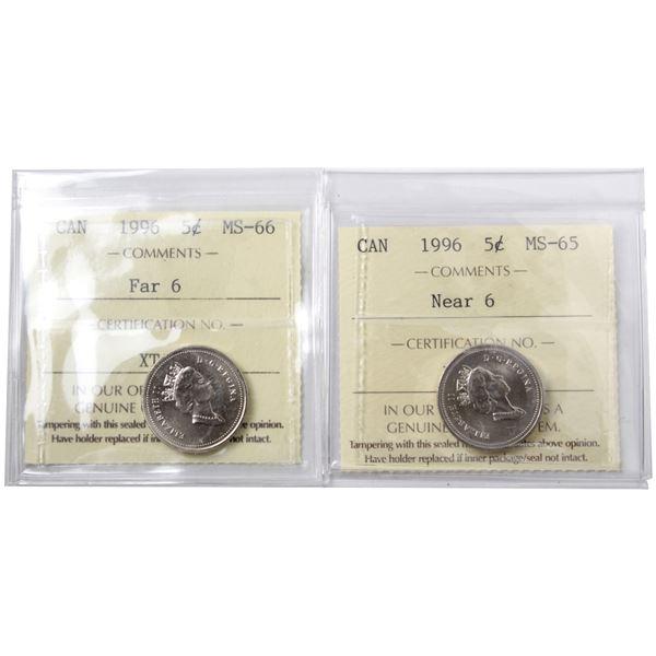 5-cent 1996 Far 6 ICCS Certified MS-66 & 1996 Near 6 ICCS MS-65. 2pcs