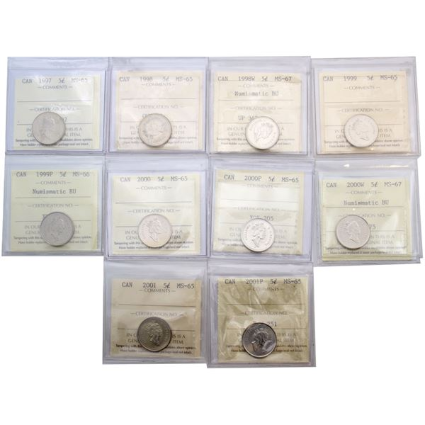 5-cent 1997-2001 all  ICCS Certified MS-65-67. 10pcs