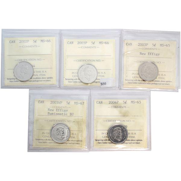 5-cent 2002P MS-66, 2003WP MS-67 NBU, 2003P MS-66, 2003P N.E. MS-65 & 2004P MS-65 All ICCS Certified