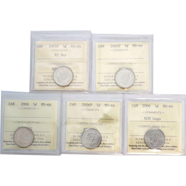 5-cent 2005P VE Day, 2005P, 2006, 2006P & 2006 RCM Logo ICCS Certified MS-66. 5pcs