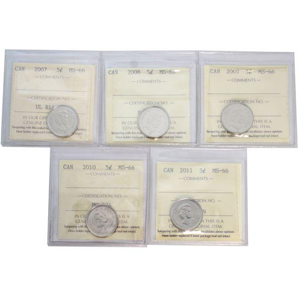 5-cent 2007-2011  ICCS Certified MS-66. 5pcs