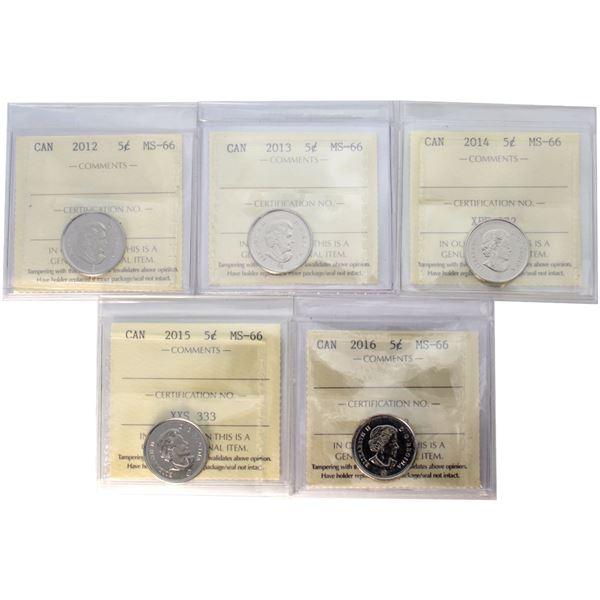5-cent 2012-2016 ICCS Certified MS-66. 5pcs