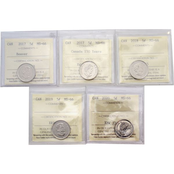 5-cent 2017 150th, 2017 Beaver, 2018, 2019 & 2020 ICCS Certified MS-66. 5pcs