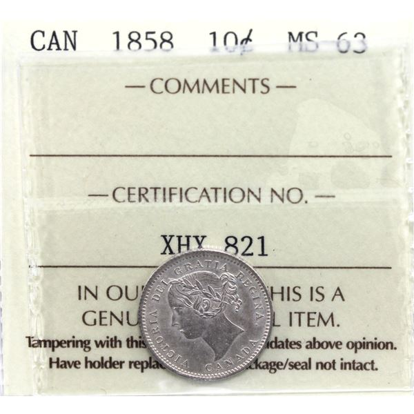 10-cent 1858 ICCS Certified MS-63. A beautiful brilliant uncirculated coin for the first year issue!