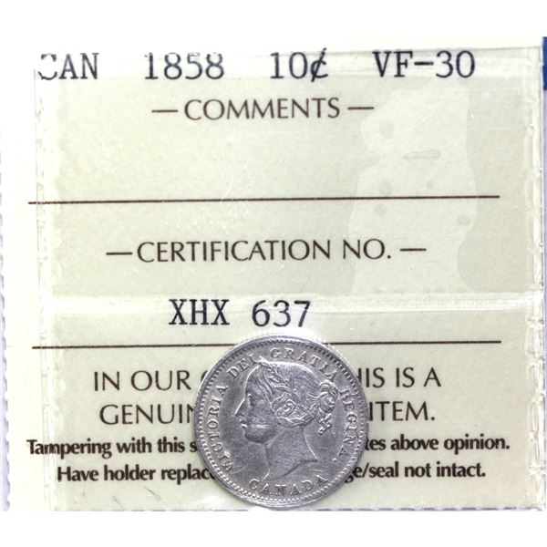 10-cent 1858 ICCS Certified VF-30.