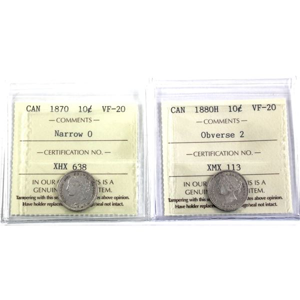 10-cent 1870 Narrow 0 & 1880H Obverse 2 ICCS Certified VF-20. 2pcs