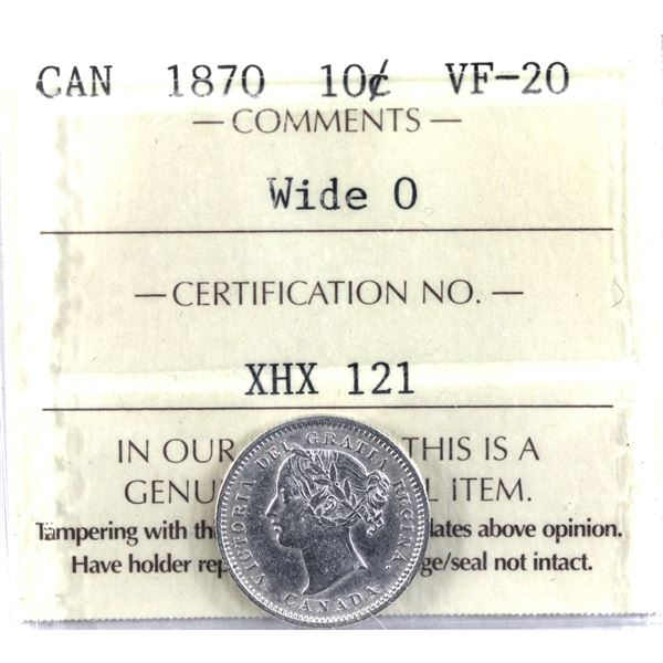 10-cent 1870 Wide 0 ICCS Certified VF-20.