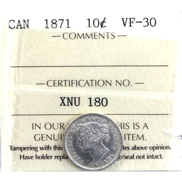 10-cent 1871 ICCS Certified VF-30.
