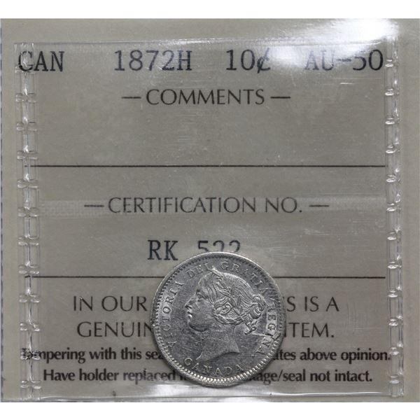 10-cent 1872H ICCS Certified AU-50.  Bright lustrous coin.
