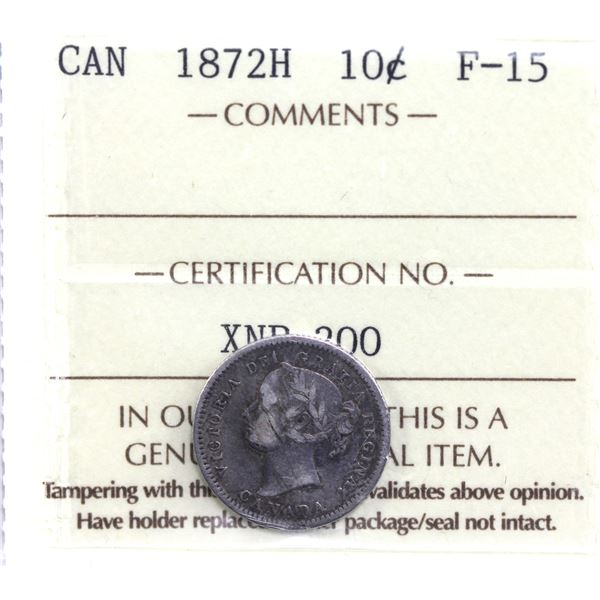 10-cent 1872H ICCS Certified F-15.