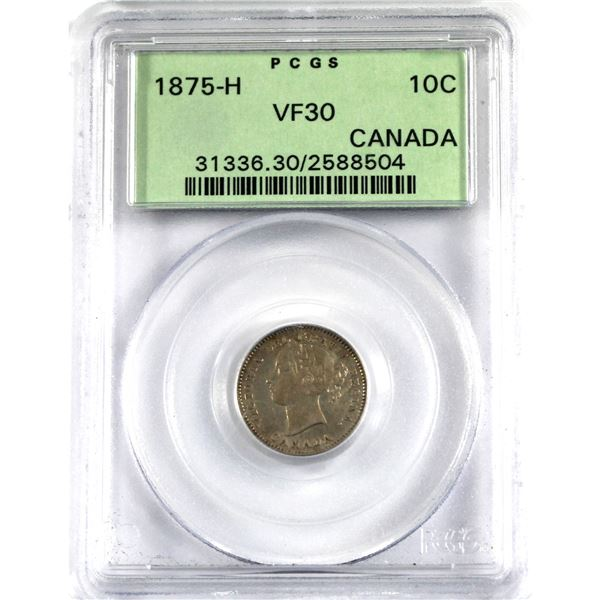 10-cent 1875H PCGS Certified VF-30. In old green label holder. A Nice mid grade example of this key