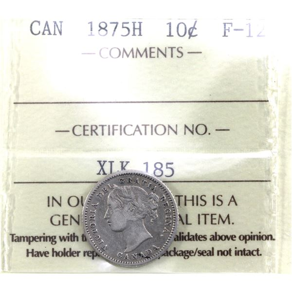 10-cent 1875H ICCS Certified F-12. *KEY DATE*