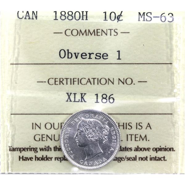 10-cent 1880H Obverse 1 ICCS Certified MS-63. A beautiful brilliant full white coin.