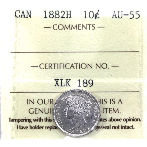 10-cent 1882H ICCS Certified AU-55.