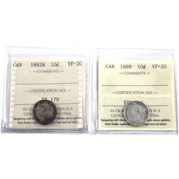 10-cent 1882H & 1888 ICCS Certified VF-20. 2pcs